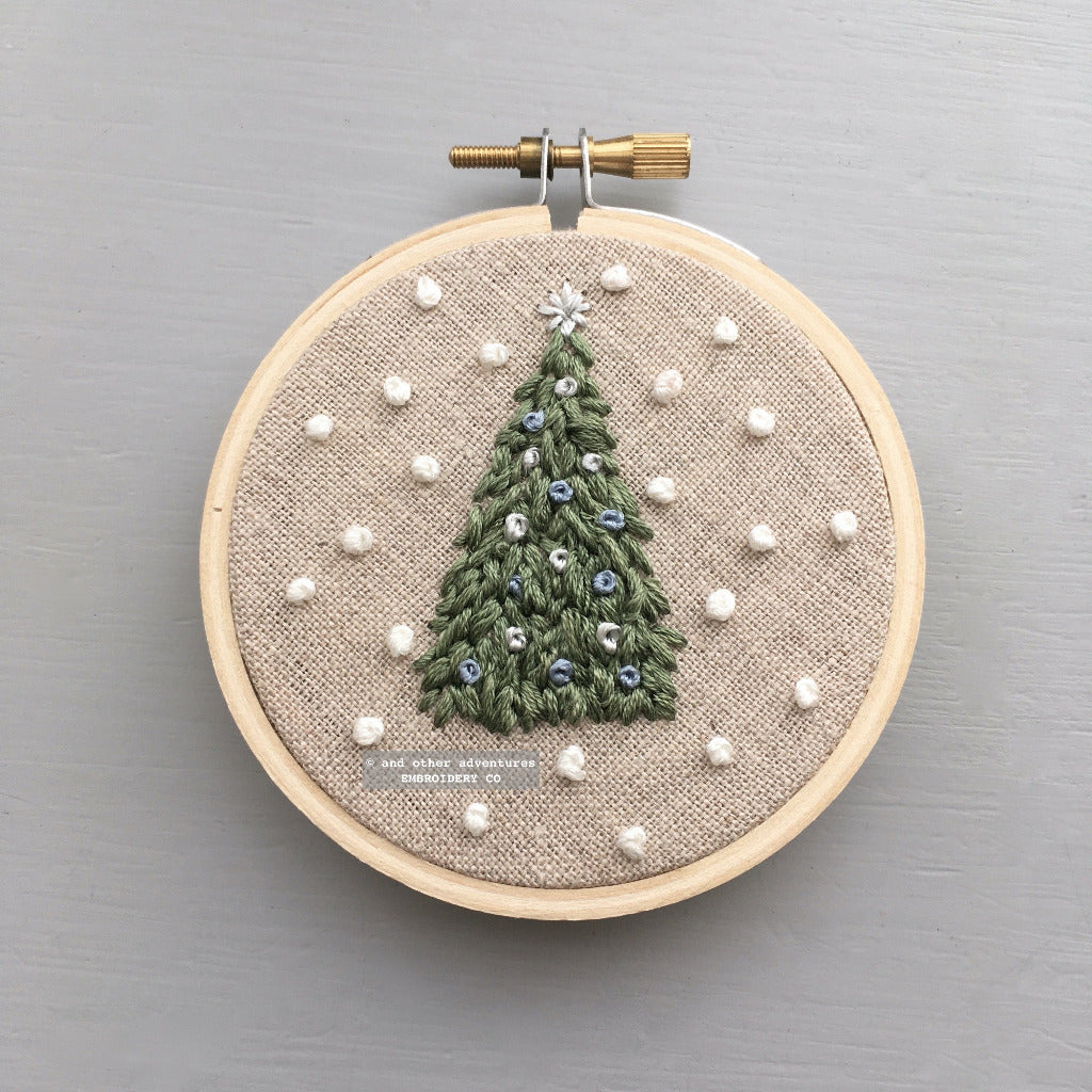 Hand Embroidery Ornament - White Christmas | And Other Adventures Embroidery Co