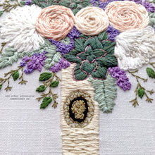 Hand Embroidered Wedding Bouquet with hand stitched cameo by And Other Adventures Embroidery Co