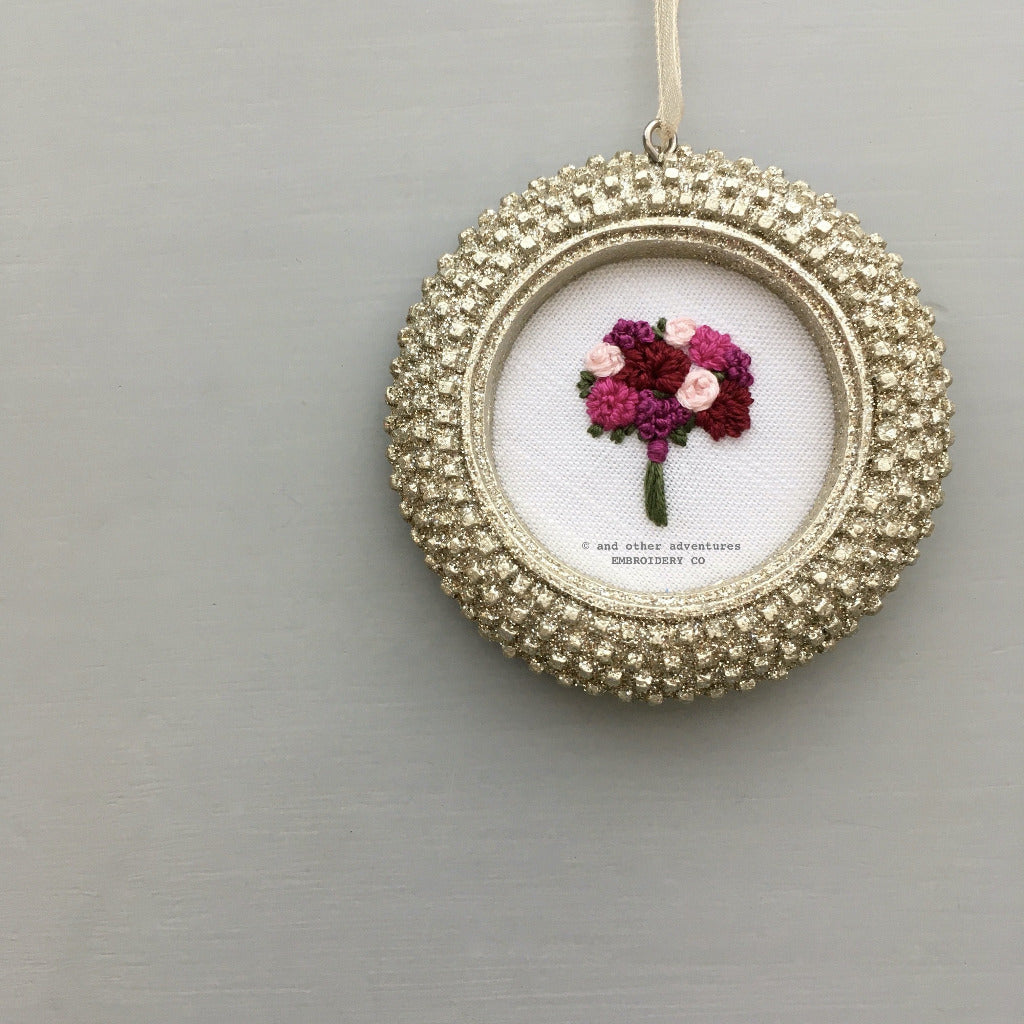 Hand Stitched Magenta Flower Christmas Ornament | And Other Adventures Embroidery Co