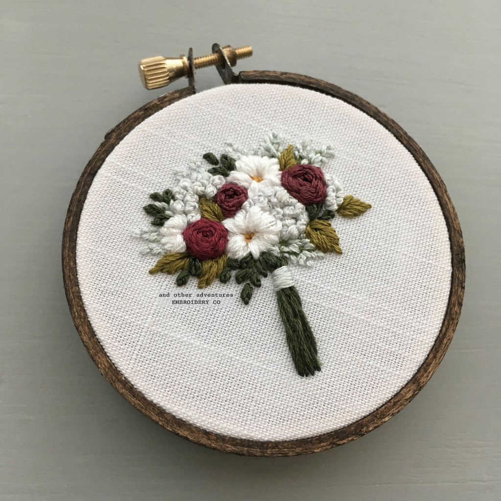 Burgundy and White Embroidered Floral Bouquet | And Other Adventures Embroidery Co