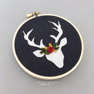 Embroidered Deer Hoop Art Ornament by And Other Adventures Embroidery Co