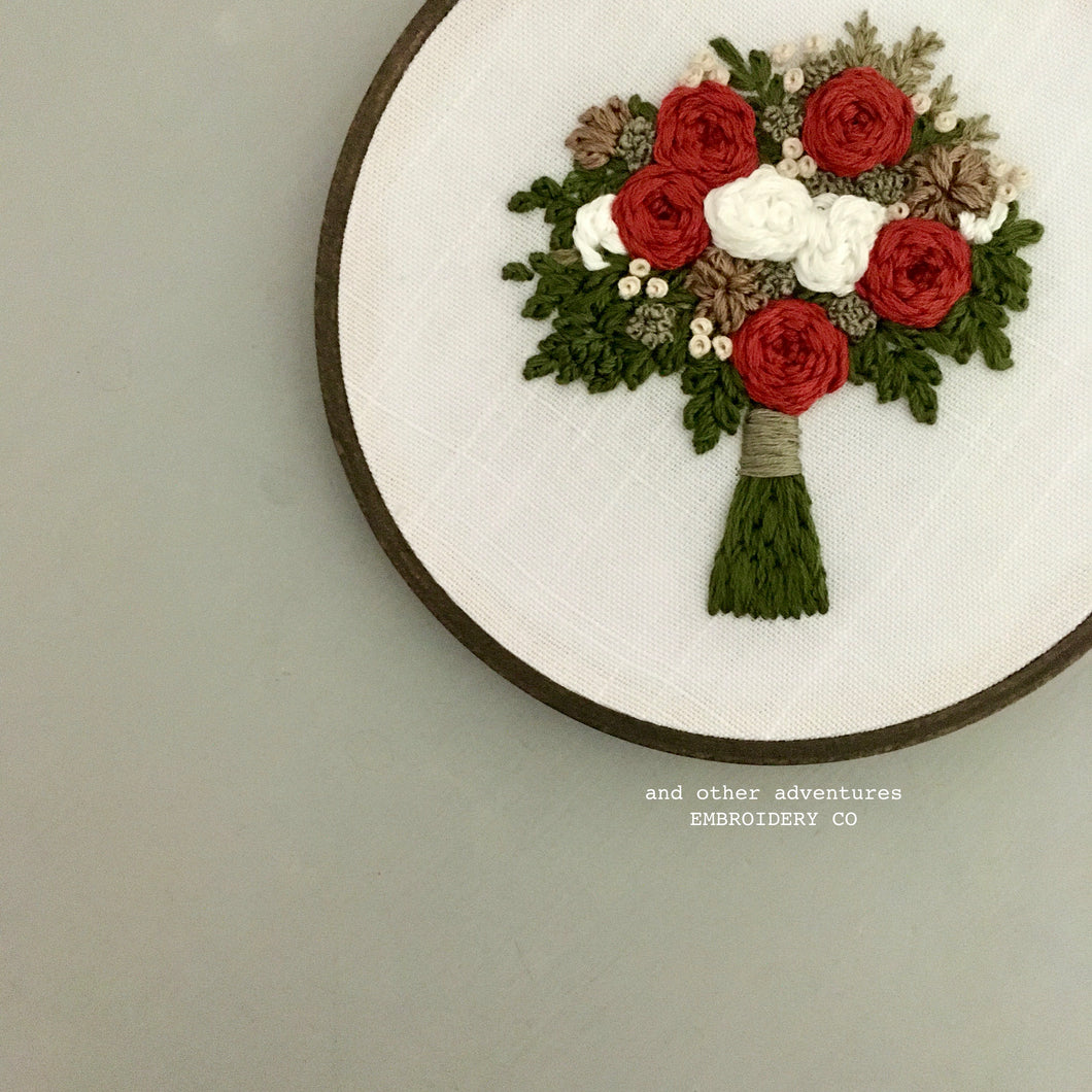 Hand Stitched Christmas Floral Bouquet Art by And Other Adventures Embroidery Co