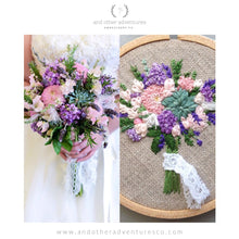Purple and Pink Floral Wedding Bouquet Embroidery by And Other Adventures Embroidery Co