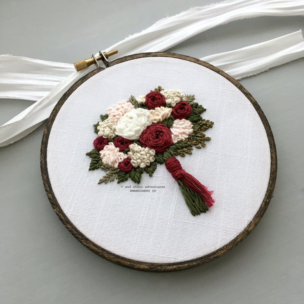 Hand Stitched Christmas Bouquet Art | And Other Adventures Embroidery Co