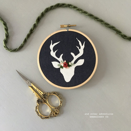 Hand Embroidered Deer Ornament by And Other Adventures Embroidery Co