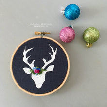 Hand Embroidered Woodland Deer Christmas Ornament by And Other Adventures Embroidery Co