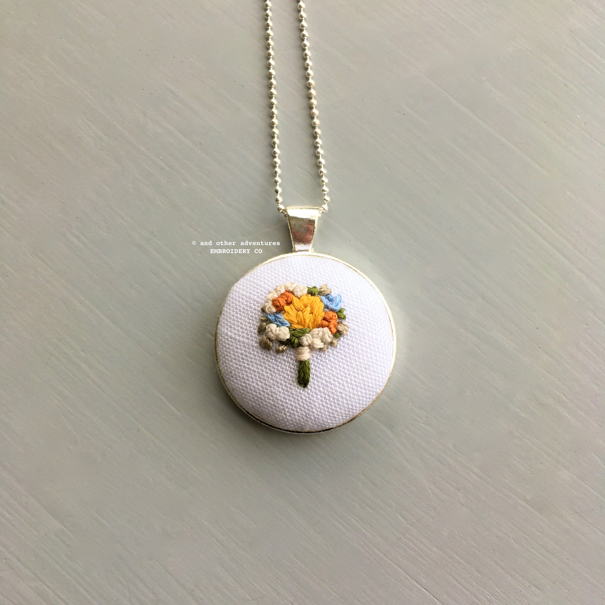 Hand Embroidered Fall Flower Bouquet Silver Necklace | And Other Adventures Embroidery Co