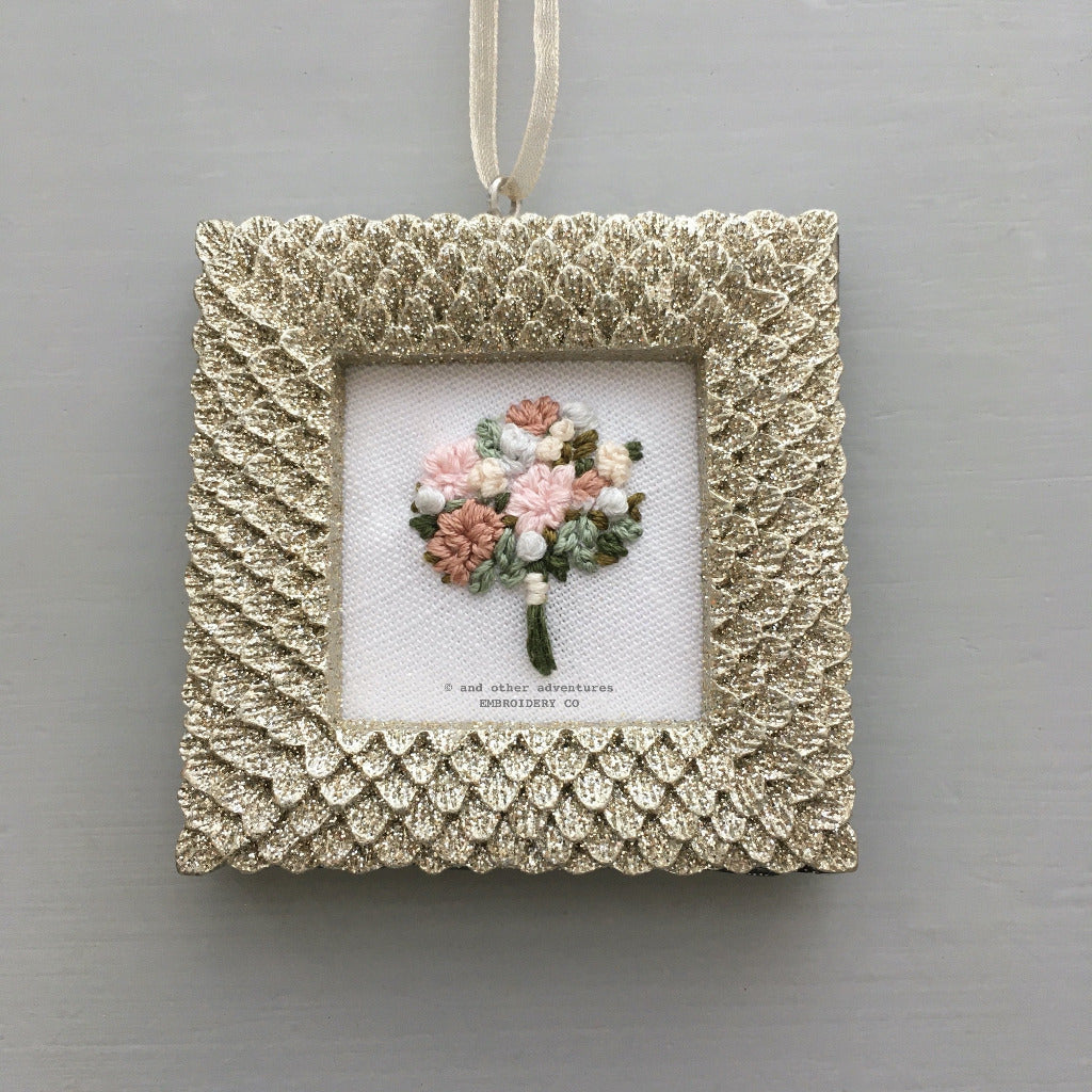 Embroidered Bouquet Glitter Ornament - Mauve | And Other Adventures Embroidery Co