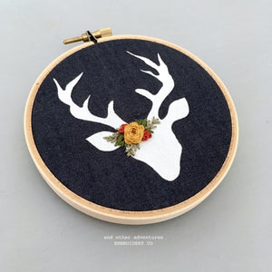 Hand Embroidered Deer Hoop Art Ornament by And Other Adventures Embroidery Co