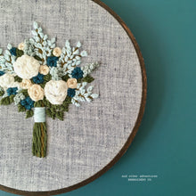 Green Blue and White Floral Bouquet Embroidered Hoop Art by And Other Adventures Embroidery Co