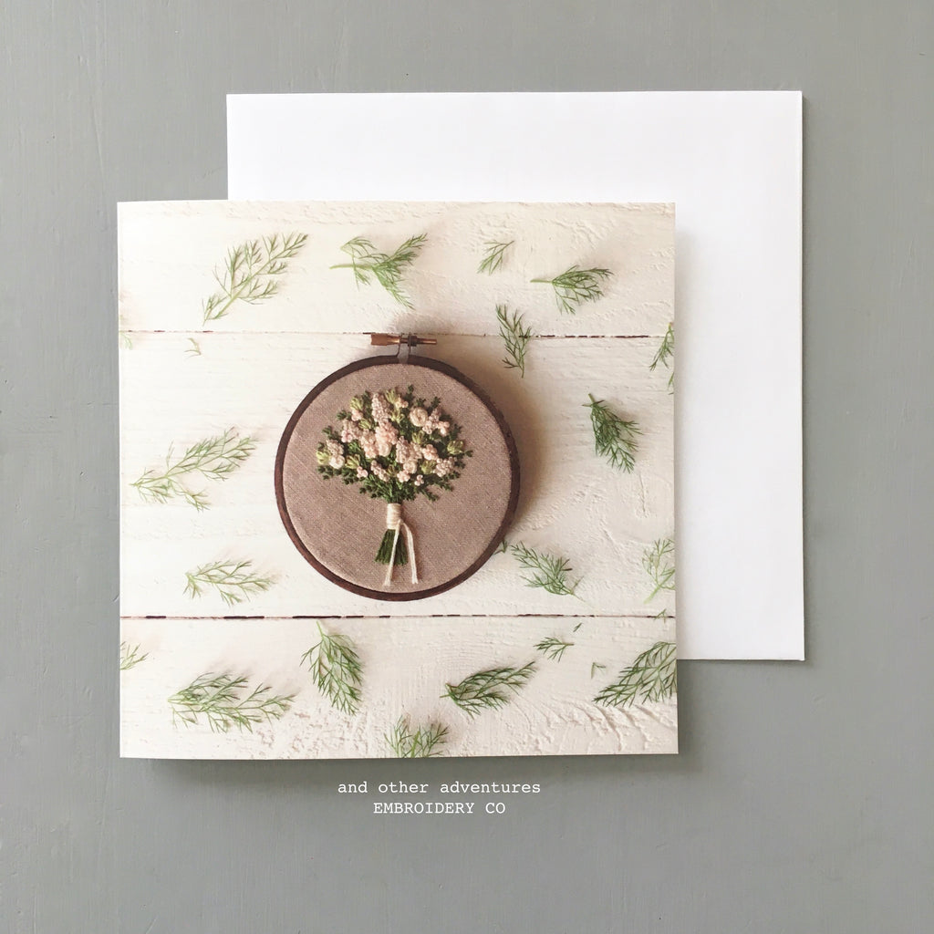 Embroidered Florals Note Card by And Other Adventures Embroidery Co
