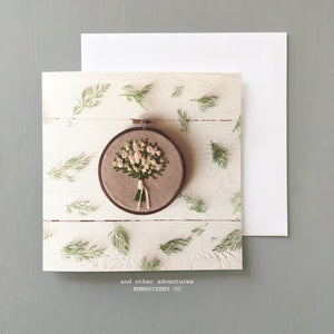 Green and Ivory Floral Bouquet Embroidery Hoop Note Card
