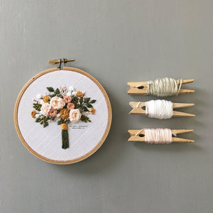 Spring Floral Bouquet Hand Embroidered Hoop Art by And Other Adventures Embroidery Co