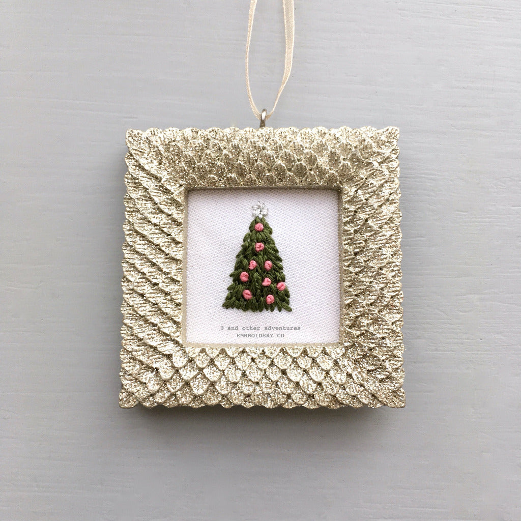 Embroidered Glitter Ornament - Pink Christmas | And Other Adventures Embroidery Co