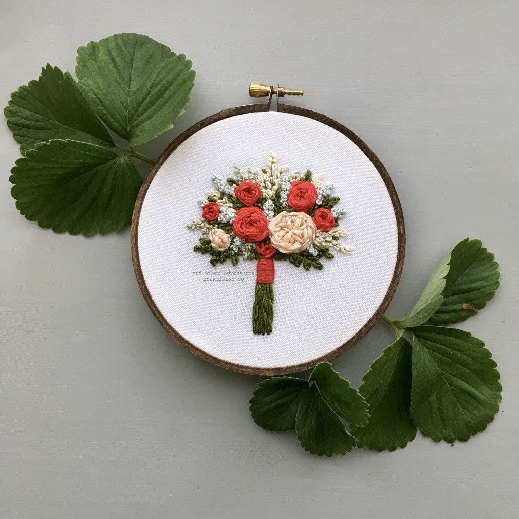 Red Floral Bouquet Embroidered Art | And Other Adventures Embroidery Co