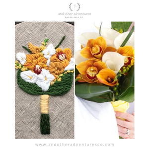 Modern Orange Calla Lilly and Orchid Wedding Bouquet Embroidery by And Other Adventures Embroidery Co