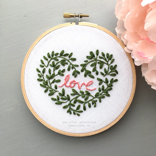 Valentine's Heart Beginner Embroidery Pattern by And Other Adventures Embroidery Co