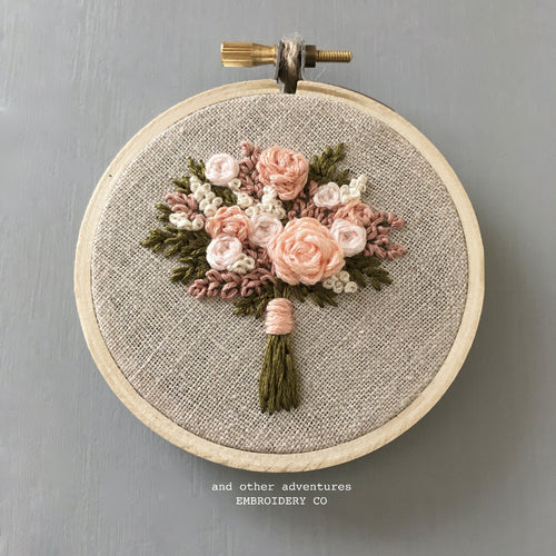 Hand Stitched Pale Peach Floral Bouquet Hoop Art by And Other Adventures Embroidery Co
