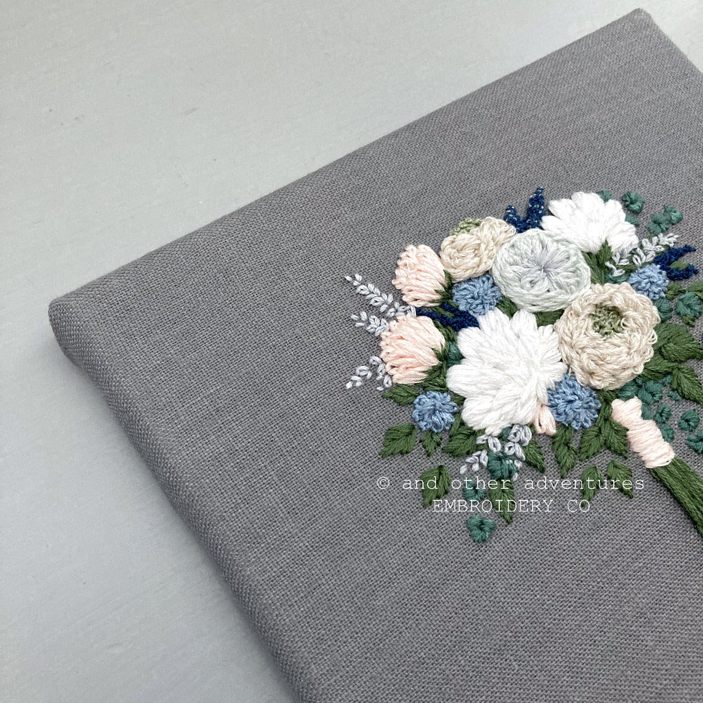 Ivory and Blue Hand Embroidered Flowers | And Other Adventures Embroidery Co