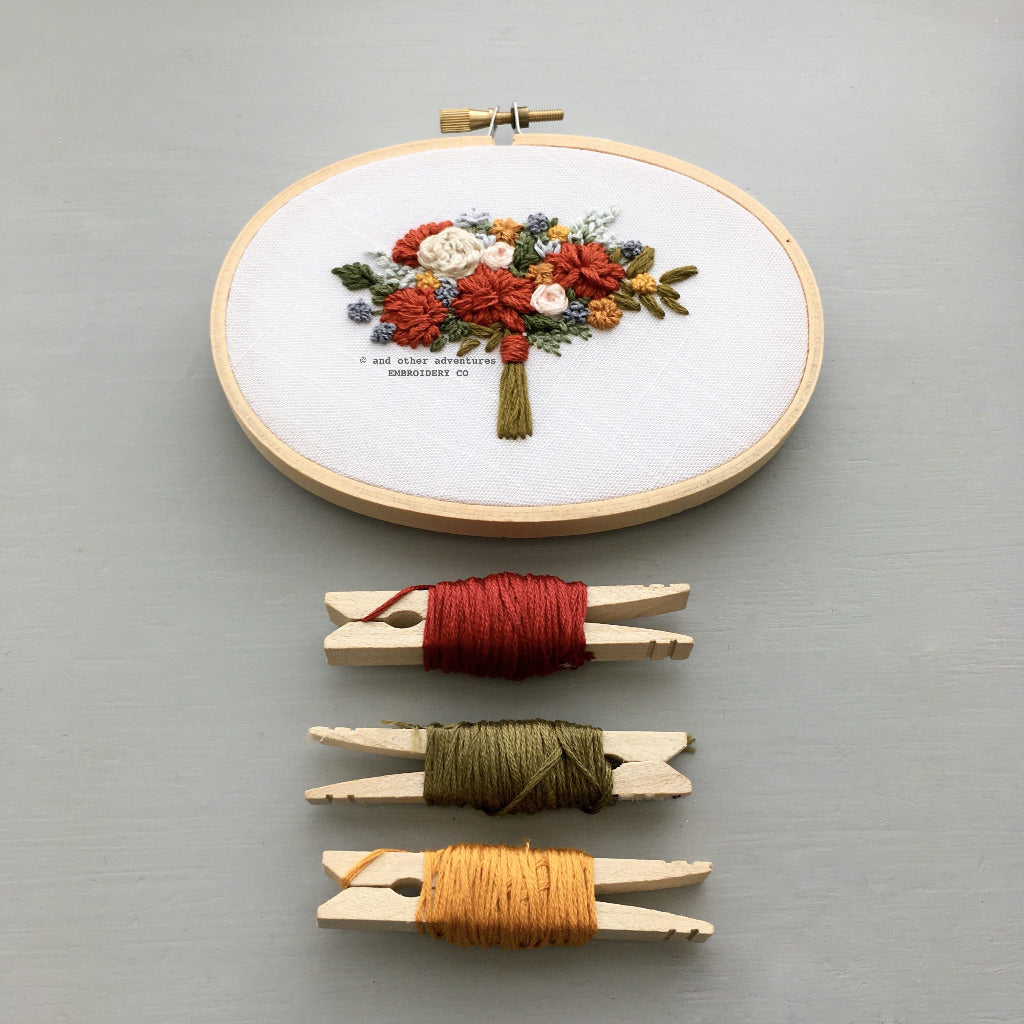 Hand Embroidered Rich Autumn Floral Bouquet in Oval Hoop | And Other Adventures Embroidery Co