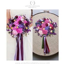 Purple and pink floral wedding bouquet hand embroidery art with ribbons by And Other Adventures Embroidery Co