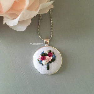 Hand Embroidered Floral Bouquet Necklace by And Other Adventures Embroidery Co