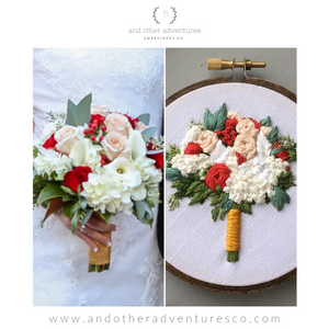 Hand Embroidered Wedding Bouquet side by side created by And Other Adventutres Embroidery Co