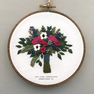 Magenta and Blue Hand Embroidered Floral Bouquet Art by And Other Adventures Embroidery Co