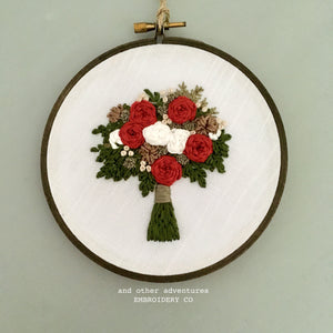 Hand Embroidered Holiday Bouquet Hoop Art by And Other Adventures Embroidery Co