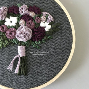 Moody and romantic embroidered floral bouquet by And Other Adventures Embroidery Co