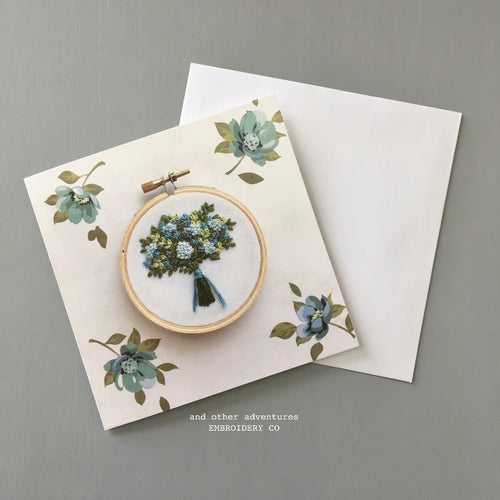 Aqua and Green Embroidered Floral Bouquet Note Card by And Other Adventures Embroidery Co