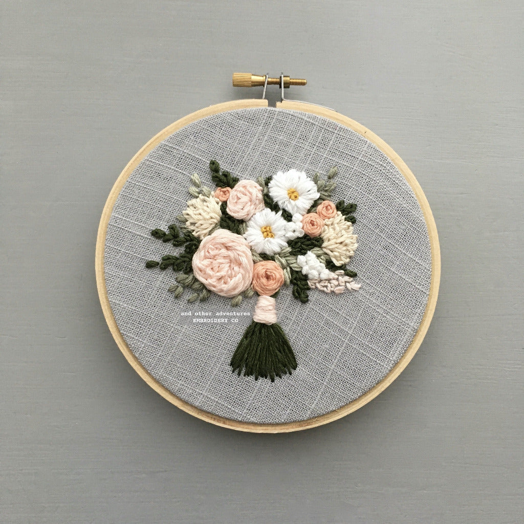 White and Pink Floral Bouquet Embroidery | And Other Adventures Embroidery Co