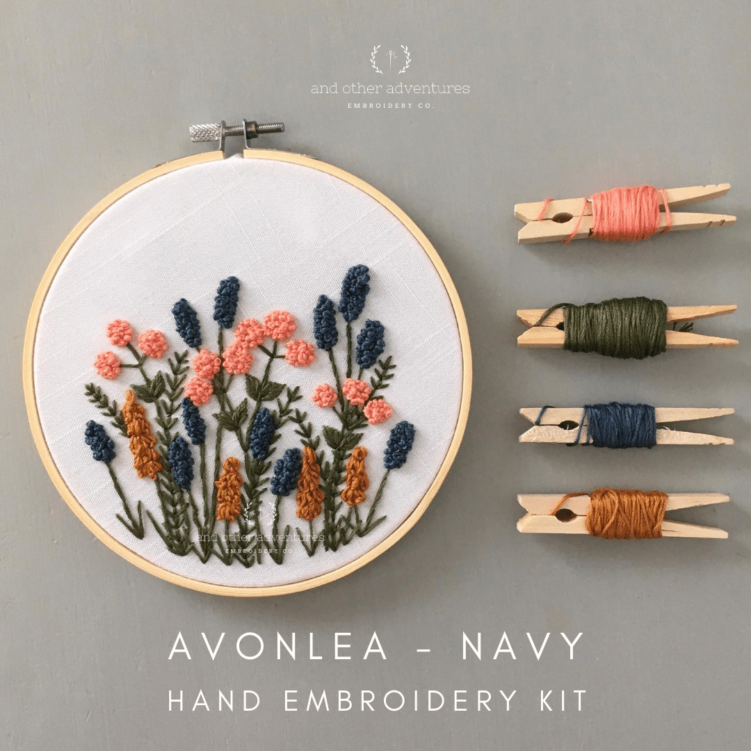 Hand Embroidery Kit for Beginners - Avonlea in Navy | And Other Adventures Embroidery Co