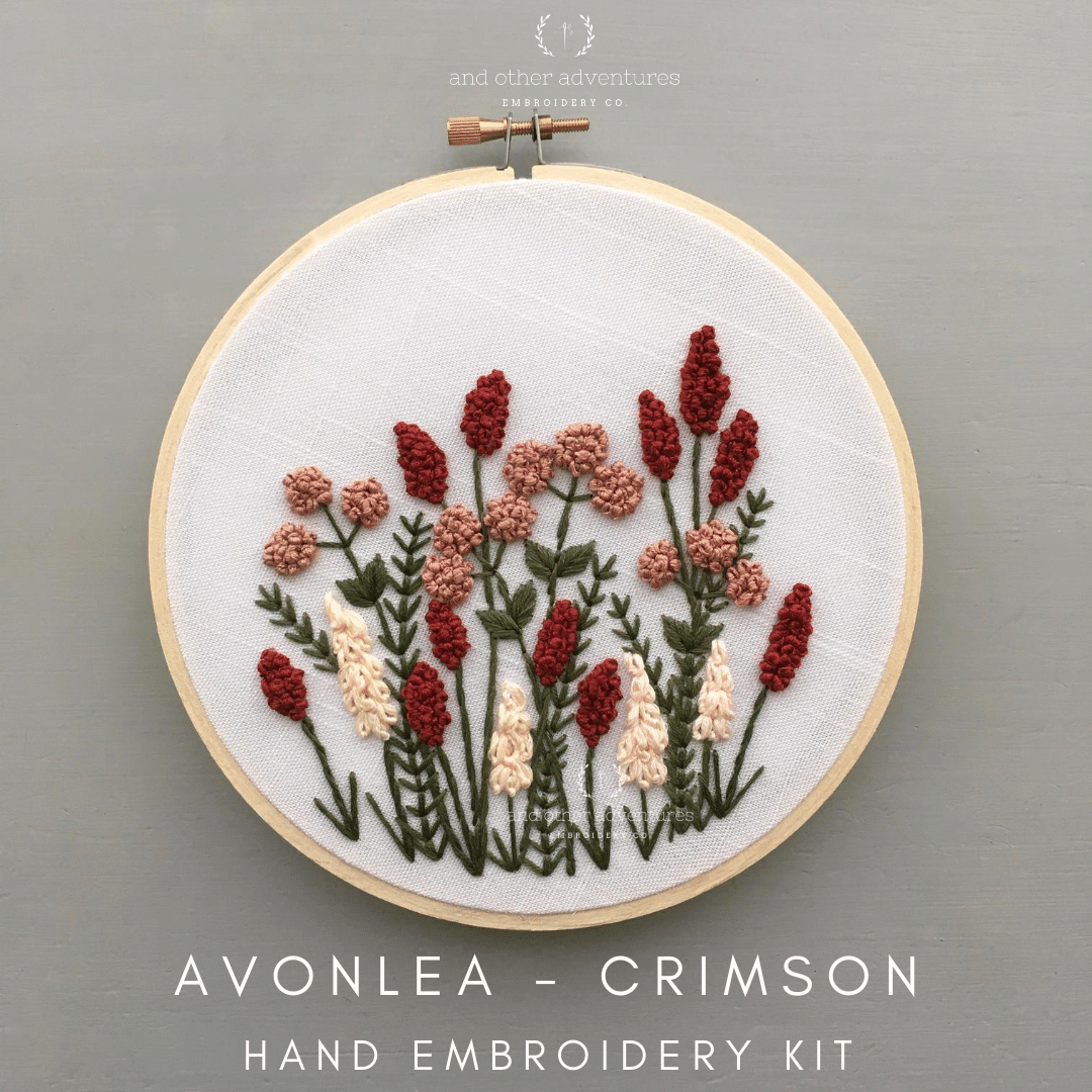 Beginner Hand Embroidery Kit - Avonlea Crimson - And Other Adventures Embroidery Co