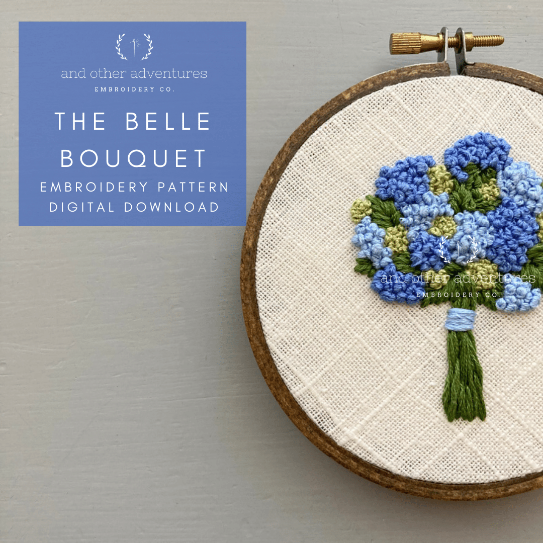 The Belle Bouquet Blue Hydrangea Hand Embroidery Digital Pattern | And Other Adventures Embroidery Co