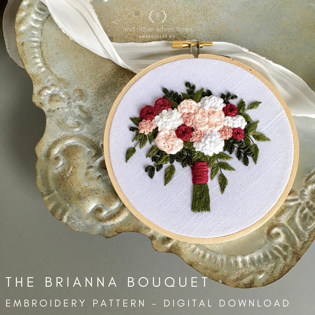 Brianna Bouquet Hand Embroidery Pattern Digital Download by And Other Adventures Embroidery Co