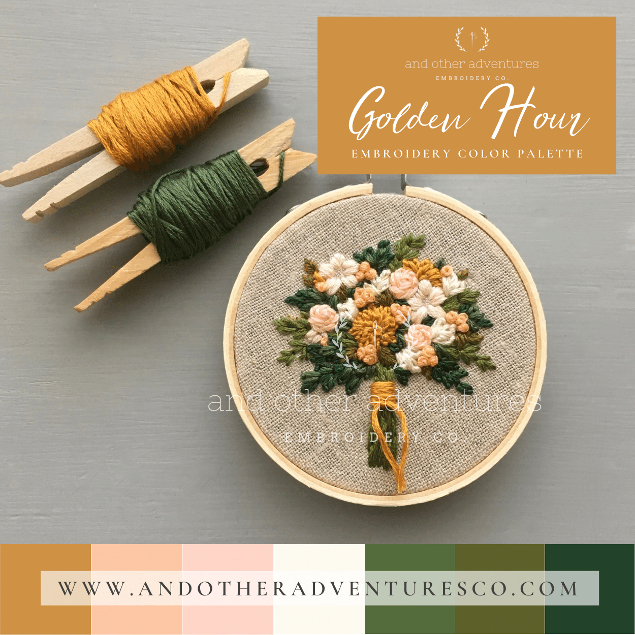 Golden Hour Hand Embroidery Color Palette by And Other Adventures Embroidery Co