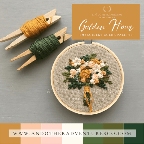 Golden Hour Color Palette for Hand Embroidery | And Other Adventures Embroidery Co