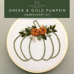 Green & Gold Pumpkin Kit | And Other Adventures Embroidery Co