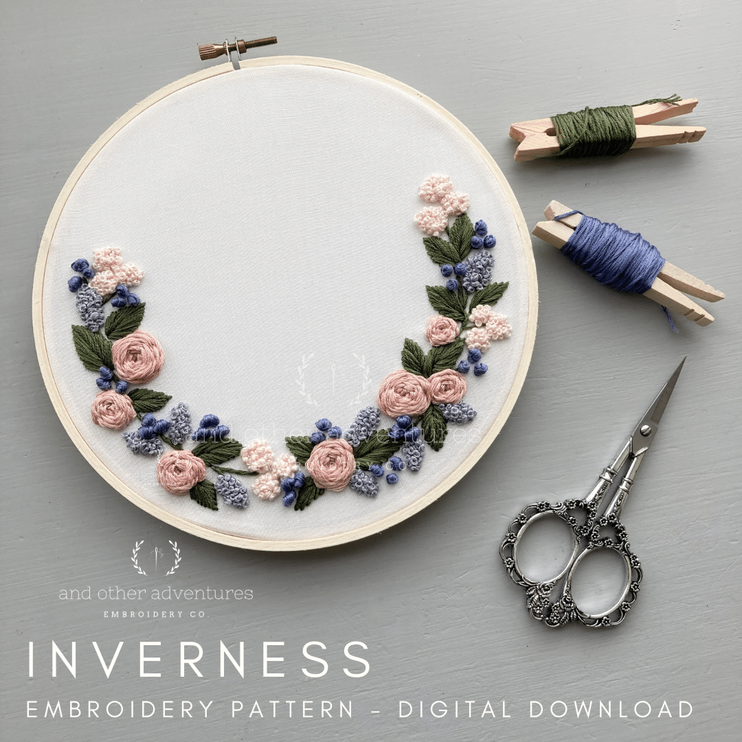 Beginner Hand Embroidery Pattern - Inverness in Lilac & Dusty Rose | And Other Adventures Embroidery Co