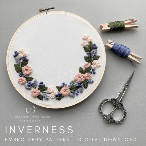 Inverness - Lilac & Dusty Rose Digital Pattern PDF Download | And Other Adventures Embroidery Co