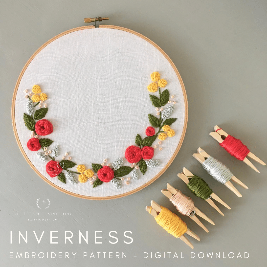 Beginner Hand Embroidery Digital Pattern featuring a red and yellow floral wreath | And Other Adventures Embroidery Co