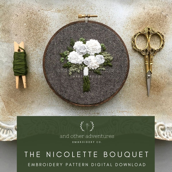 The Nicolette Bouquet Hand Embroidery Digital Pattern   And Other Adventures Embroidery Co