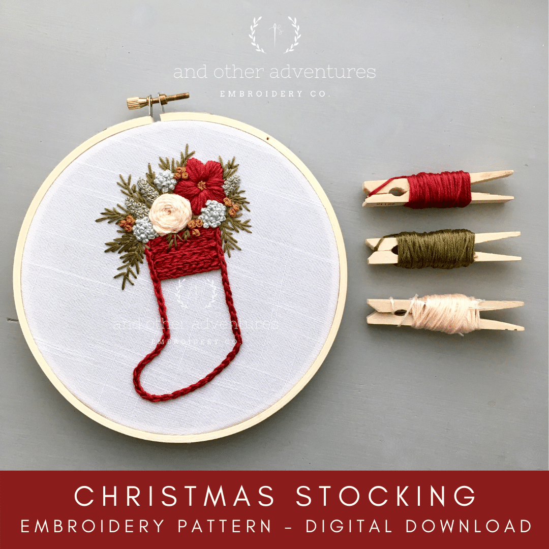Red Christmas Stocking Beginner Embroidery Pattern - Digital Download | And Other Adventures Embroidery Co
