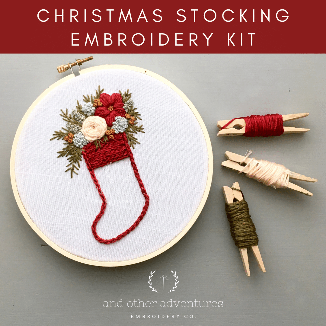 Red Christmas Stocking Hand Embroidery Kit | And Other Adventures Embroidery Co