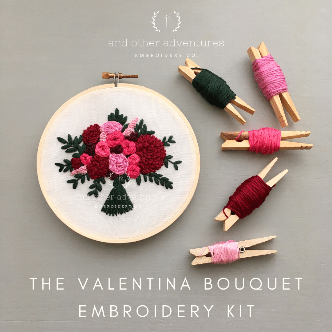 Valentina Flower Bouquet Hand Embroidery Kit | And Other Adventures Embroidery Co