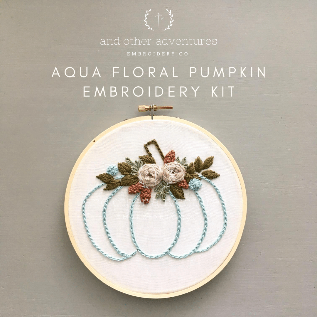 Aqua Floral Pumpkin Beginner Embroidery Kit | And Other Adventures Embroidery Co
