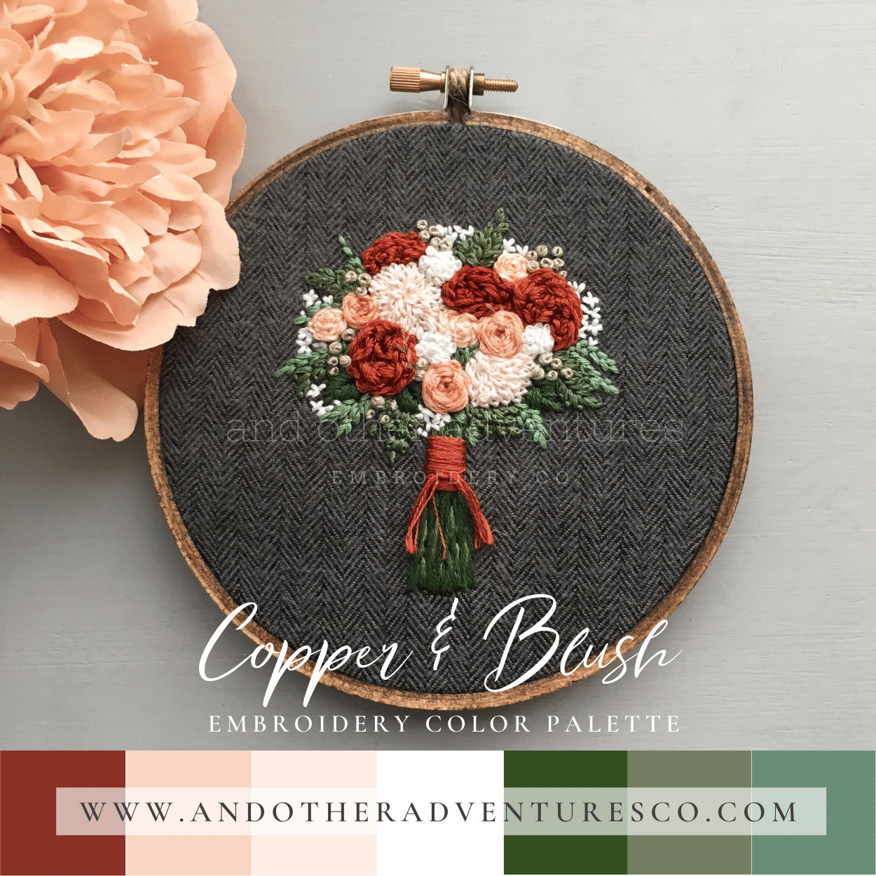 Copper & Blush Hand Embroidery Color Palette by And Other Adventures Embroidery Co