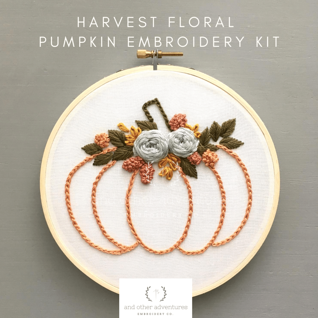 Harvest Floral Fall Pumpkin Embroidery Kit for Beginners | And Other Adventures Embroidery Co