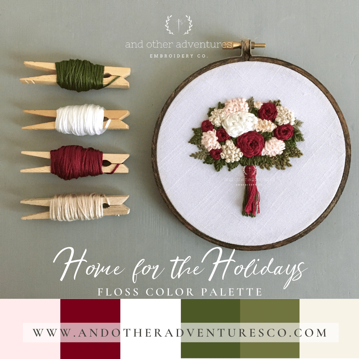 Home for the Holidays Hand Embroidery Floss Color Palette by And Other Adventures Embroidery Co